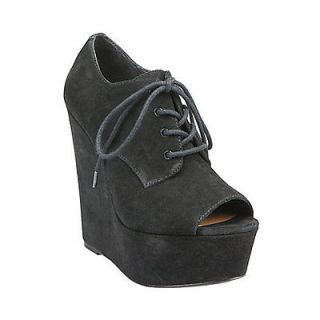 steve madden windupp black suede wedge nib