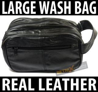 mens large soft black leather toiletry travel wash bag from