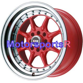 002 RED Rims Wheels Deep Dish Lip 4x100 Stance 98 02 Honda Civic SI