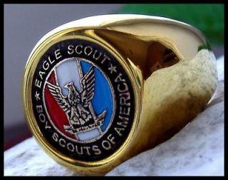 US SIZE 8   AJS © EAGLE SCOUT BOY SCOUTS BSA 24k GOLD PL RING