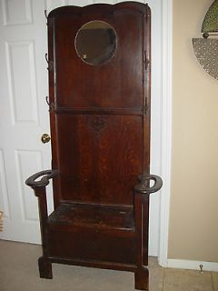 Antique Hall Tree with Bench or Storage Area & Lead Mirror Pick up