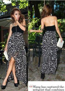 New Women Sexy Chiffon Bustier Party Maxi Dress Leopard Pattern Two
