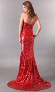 Stunning Strapless Sequins Bridal Wedding Prom Party Cocktail Evening