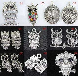 wholesale fashion jewelry lot silver retro owl pendant necklace