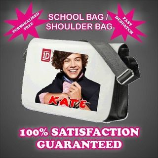 HARRY STYLES ONE DIRECTION PERSONALISED MESSENGER / SHOULDER / SCHOOL