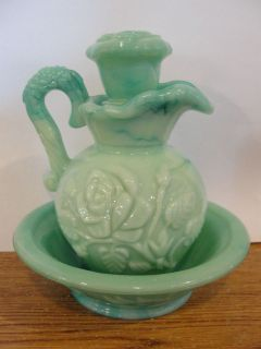 antique avon water pitcher and bowl with lid time left