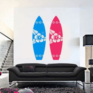 SURFBOARD w/ hibiscus Flowers   Vinyl Wall Art Decal Sticker