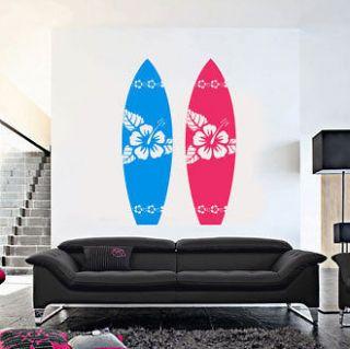 SURFBOARD w/ hibiscus Flowers   Vinyl Wall Art Decal Sticker