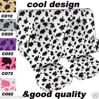 complete set fr rr cow print car seat covers so