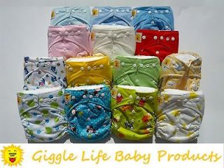 Life Ultra Soft Cloth Diapers & 20 x Inserts One Size 8 33lbs AIO
