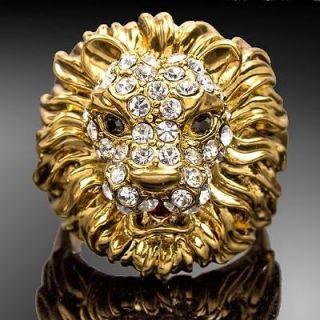 yellow gold GP Cool Lion Head Swarovski Crystal Cocktail Fashion Ring