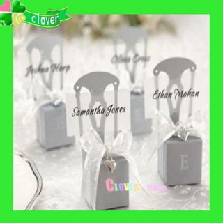 50 Miniature Charm&Ribbon Silver Chair Wedding Sweet Party Favor Boxes