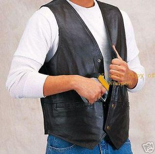 ccw leather concealed carry weapon gun vest sze 3xl