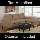 Small Tan Microfiber Sectional Sofa And Ottoman Set F7282 Couch