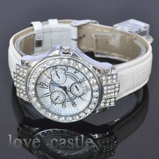 modern Elegant Silver Crystal Quartz Womens Leather Band Watch L11