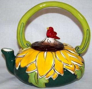 charming sunny sunflower teapot by blue sky
