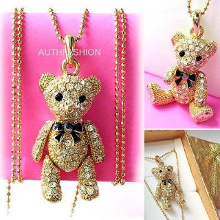 New Teddy Bear Gold Color Kids Chilren Pendant Necklace with Free Gift