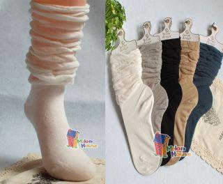 Vintage Women Ladies Cotton Fashion Ruffle Loose Long Slouch Socks
