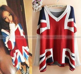 Vintage Batwing UK Flag Union Jack Knitwear Sweater Top WSWET041