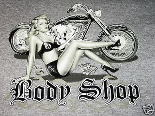 body shop chopper girl t shirt gray size small new