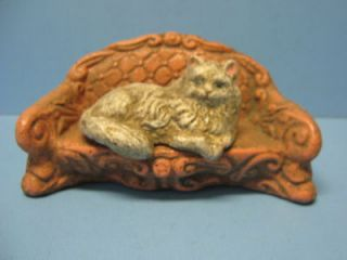 Cat on a Couch Cast Iron Bank Vintage 7L x 3w x 3 1/4h