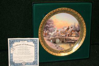 omas Kinkade Cobblestone Christmas Limited Edition Christmas Plate