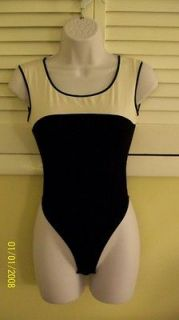 Cosabella Black & White Sleeveless Thong Bodysuit Leotard Small Yoga