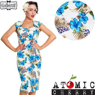 Regina Hibiscus Wiggle Pencil Dress Rockabilly Pin Up Retro Floral