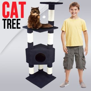 Cat Tower Tree w Condo Scratcher Furniture Kitten House Navy Blue Bed