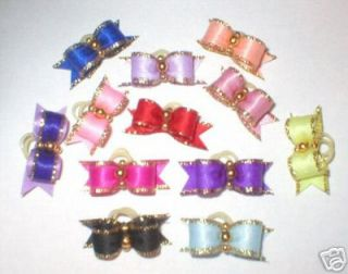 Vals Dog Bows ~ 3/8X 7/8 Gems, Tiny Teacups, for Yorkie, Maltese