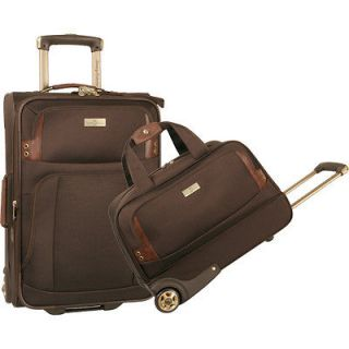 NEW TOMMY BAHAMA HARBOR EXPANDABLE BROWN 2 PIECE LUGGAGE SET $300
