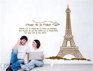 Huge Paris Eiffel Tower Wall Stickers Decor Decals Art PVC Reusable