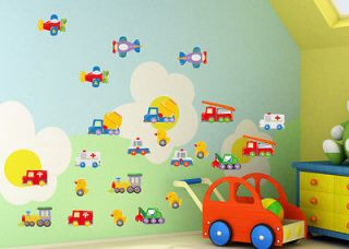 Toys Cars Airplanes Ducks Wall Sticker Home Children Kids Room Decal
