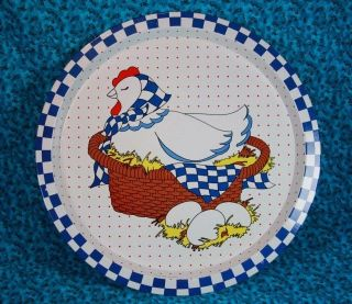 metal chicken laying eggs 12 tray red white and blue
