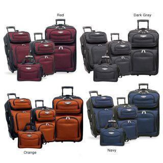traveler s choice amsterdam 4 piece luggage set orange time