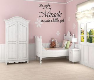 Miracle Little Girl Wall Quote Nursery Baby Decor Decal Removable