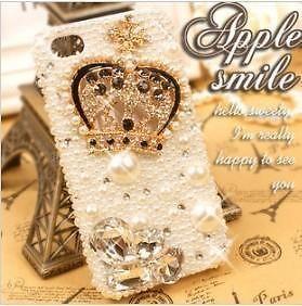 3D handmade bling full pearls diamonds crown case cover for iPhone5 5g