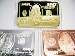 ,SILVER,CO​PPER $100 Dollar Bill 1 Troy oz Ounce each Bullion Bar