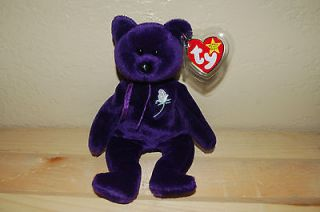 PRINCESS the Purple BEAR   Ty Beanie Baby Retired   1997 Diana Bear