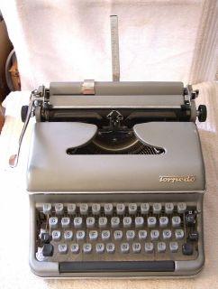 Vintage TORPEDO PORTABLE TYPEWRITER Germany w/ hard case (1960s?)