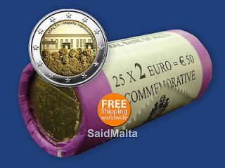 2012 Malta 2 Euro Commemorative Coin Roll of 25 Coins Uncirculated