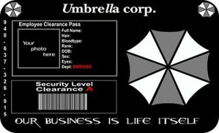 resident evil id card umbrella corp cosplay costume pro one