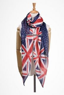 colors UK Flag Print Scarf Womens Ladies Fashion Look Union Jack