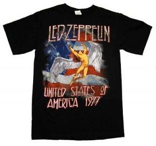 Led Zeppelin 1977 World Tour US Flag Angel Rock Band Adult T Shirt Tee