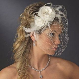 bridal cage veil and floral headpiece crystal pearl more options