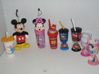 DISNEY PRINCESS 8 PLASTIC KIDS MUG CUP MICKEY MOUSE MINNIE CARS MOVIE