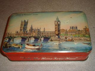 Blue Bird Toffee vintage rare empty tin 1950s House of Parliament