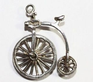 Bicycle Penny Farthing Vintage Sterling Silver Bracelet Charm 1.7g