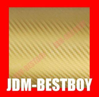 GOLD CARBON FIBER Self Adhesive Vinyl Sticker Wrap Decal Hood Roof
