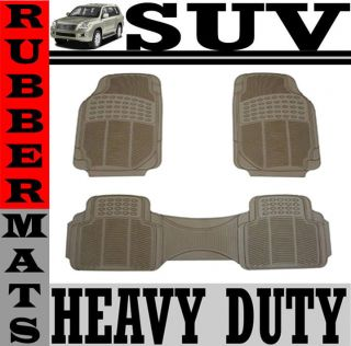 Rubber SUV Beige Floor Mat Front & Rear Liner Fit (Fits Volvo XC90